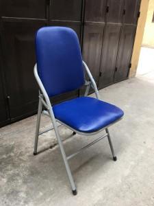 Ghế gấp da lưng cao màu xanh chân tĩnh điện. Thanh lý Mới 100%