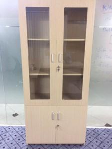 Tủ hồ sơ cánh kính gỗ ép phủ Melamin Màu Fami. Mới 100%