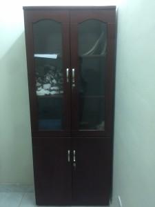 Tủ hồ sơ sơn nâu pu loại 2 cánh kính