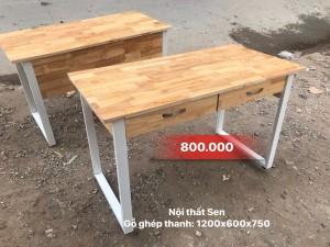 Bàn chân sắt 2 ngăn kéo gỗ cao su chống nước Mới 100%