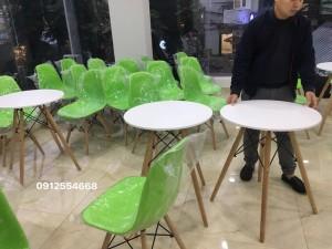 Bàn cafe tròn 60cm chân gỗ Nhập Khẩu (NEW)